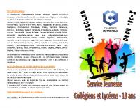 Page 1 et 4 du Dossier Ados Chartres métropole (Séjour ski 2020)