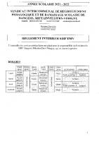 Règlement intérieur du SIRP DMV – Rentrée scolaire 2021-2022