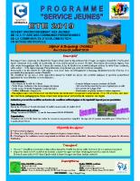 Chartres metropole – Plaquette séjour du 15 au 24 juillet 2019 à Bussang (Vosges)